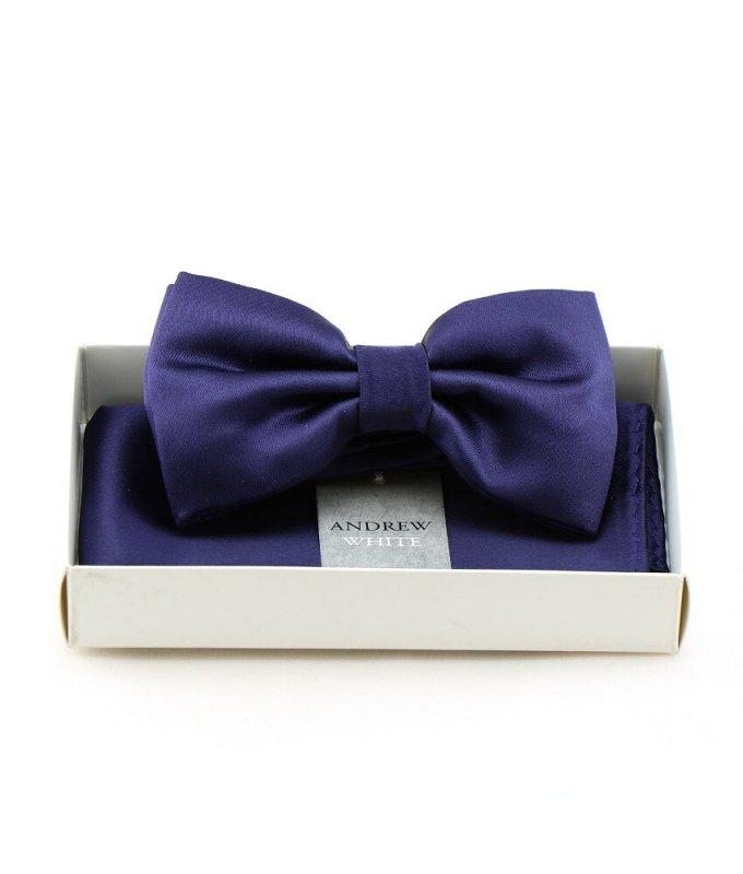 Бабочка Andrew White с платком, фиолетовая, однотонная