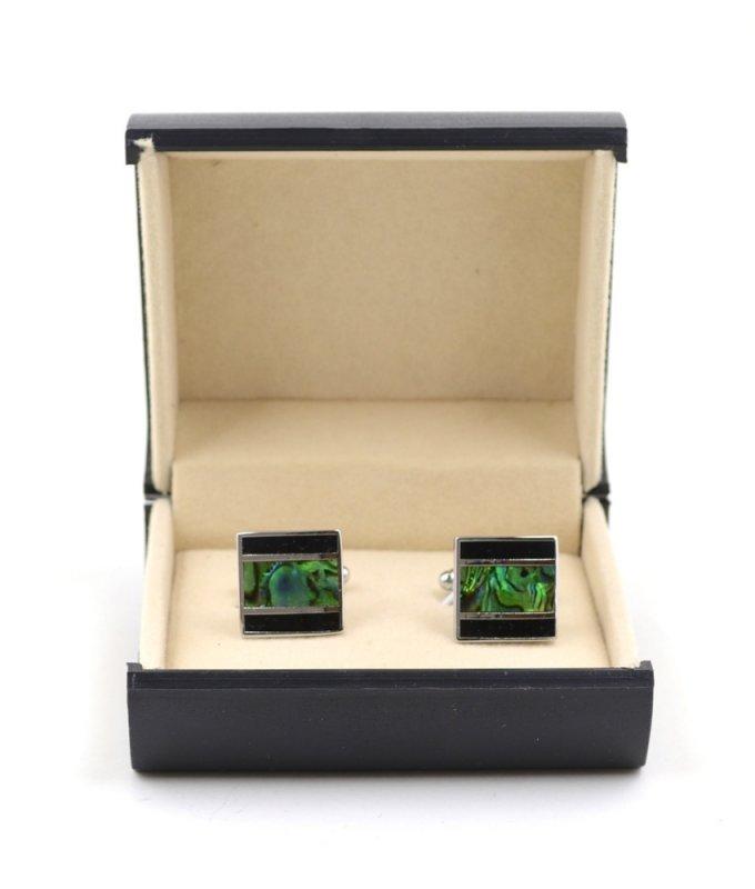 Запонки Elsago с зеленой полосой