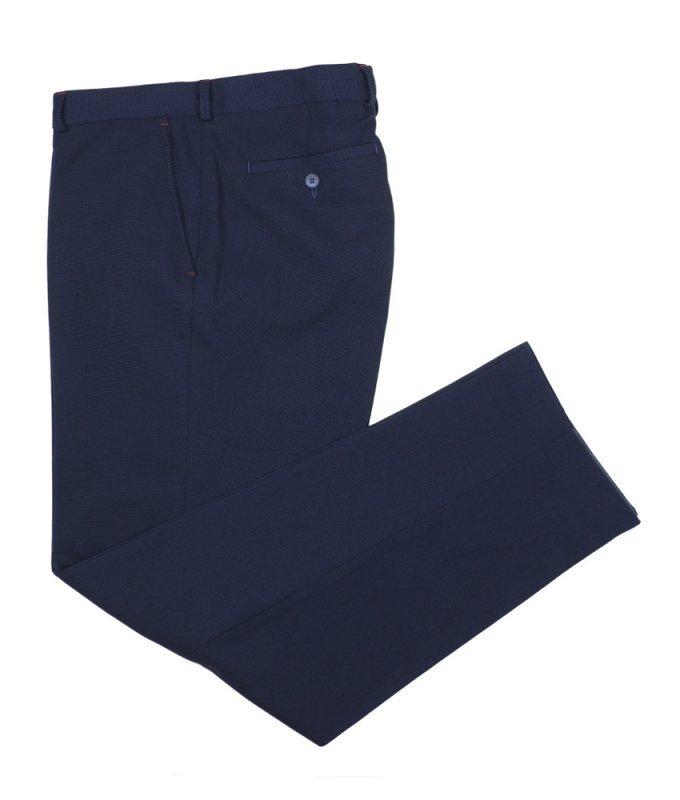 Брюки классические TS collection синие, мелкий орнамент, утепленные (флис)