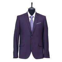 Костюм Magnify фиолетовый, однотонный, приталенный силуэт