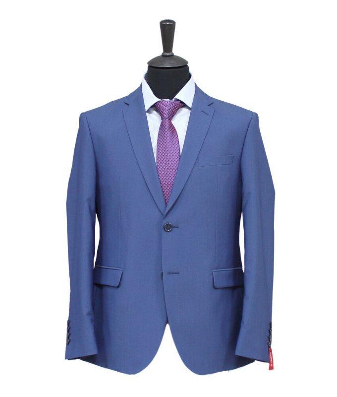 Костюм Truvor голубой, однотонный, приталенный силуэт