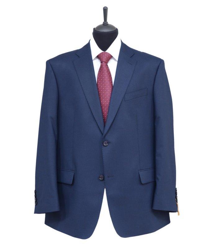 Костюм Truvor синий, в полоску, классический силуэт