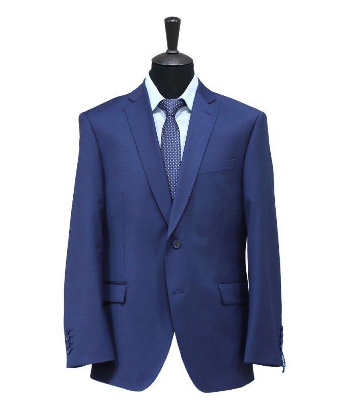 Костюм Truvor синий, однотонный, полуприталенный силуэт