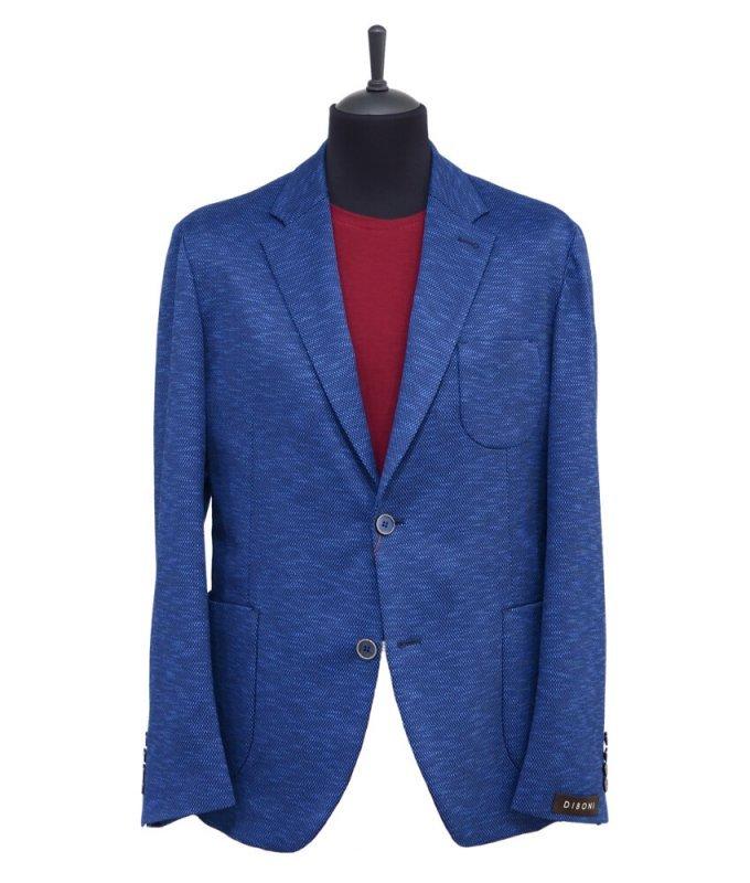 Пиджак Diboni синий, мелкий орнамент, приталенный силуэт