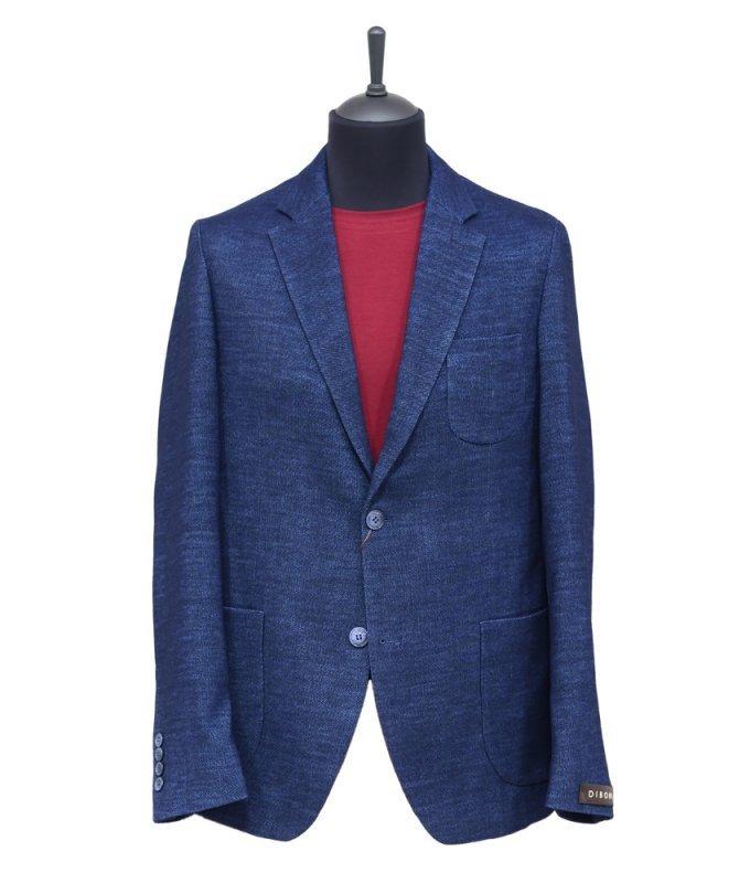 Пиджак Diboni синий, мелкий орнамент, полуприталенный силуэт