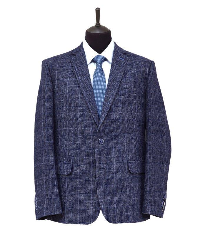 Пиджак Magmen синий, в клетку, полуприталенный силуэт