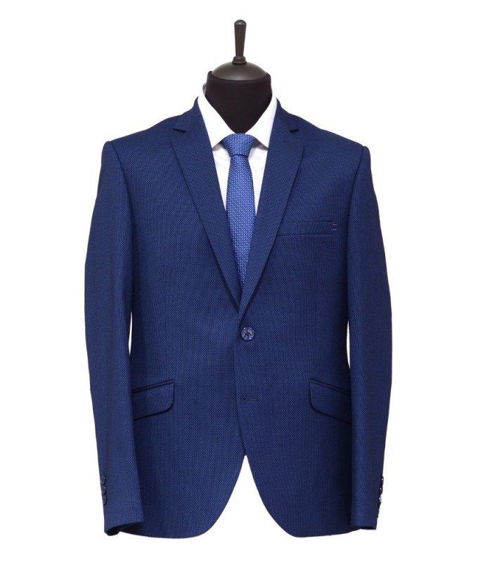 Пиджак Magmen синий, мелкий орнамент, приталенный силуэт