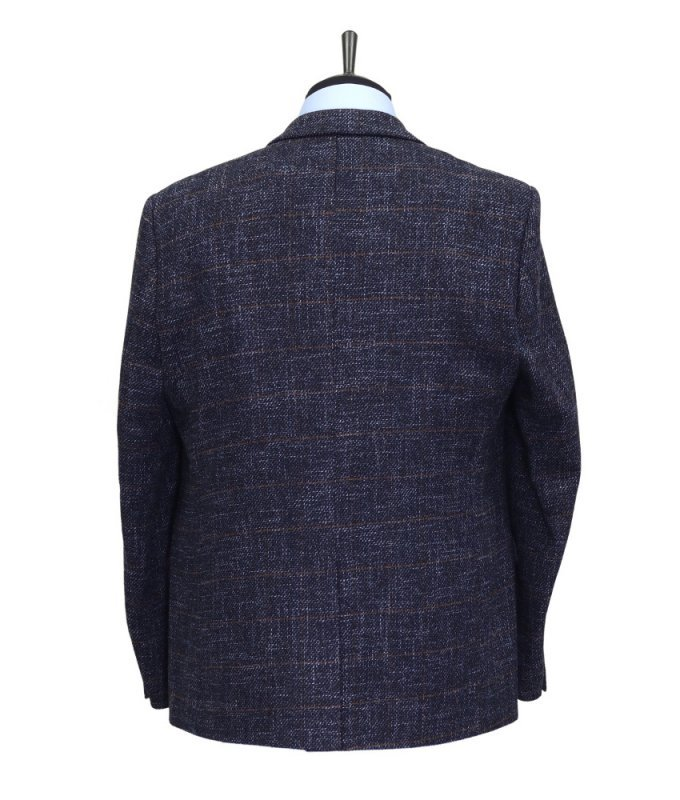 Пиджак Magmen синий, в клетку, классический силуэт