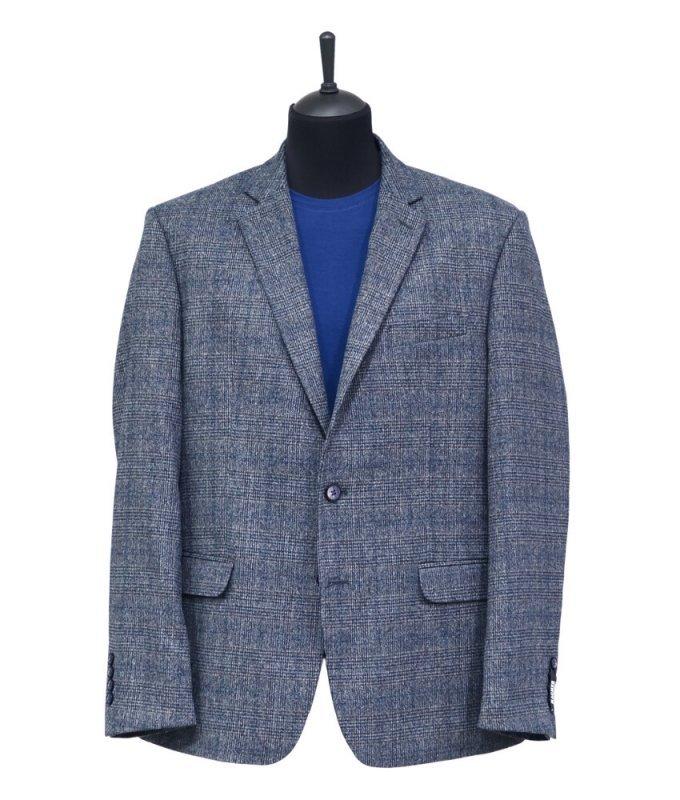 Пиджак Magmen серый, в клетку, классический силуэт