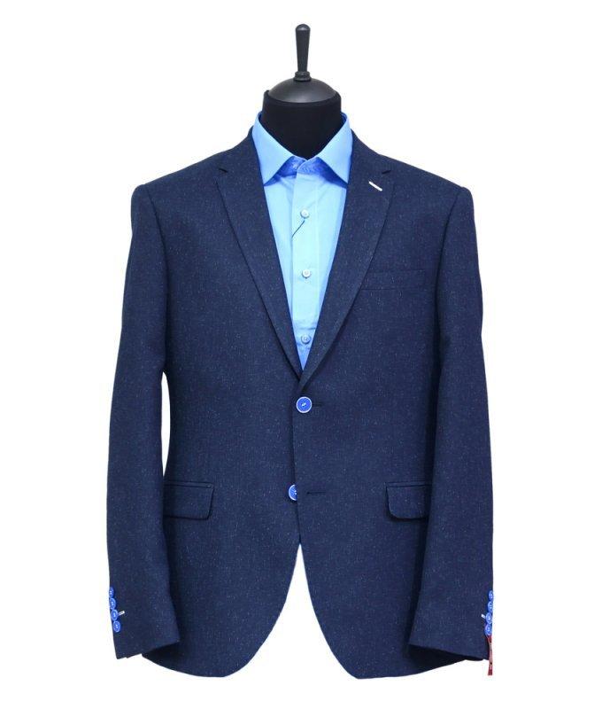 Пиджак Truvor синий, мелкий орнамент, полуприталенный силуэт