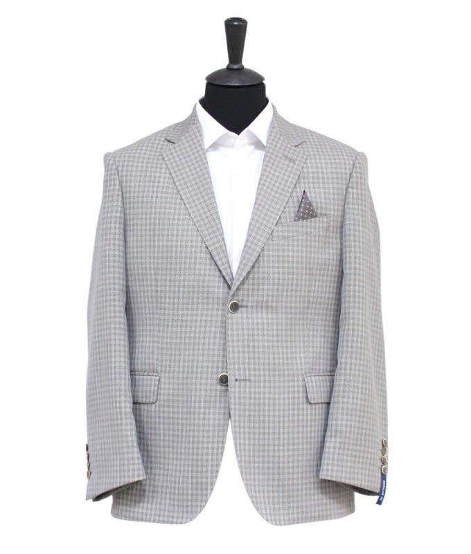 Пиджак Truvor серый, в клетку, полуприталенный силуэт