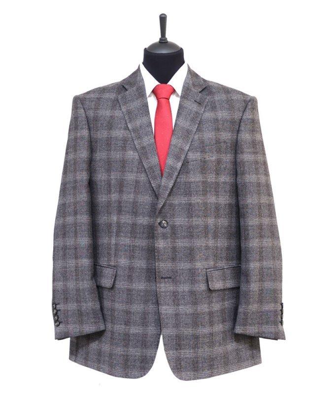 Пиджак Truvor серый, в клетку, классический силуэт