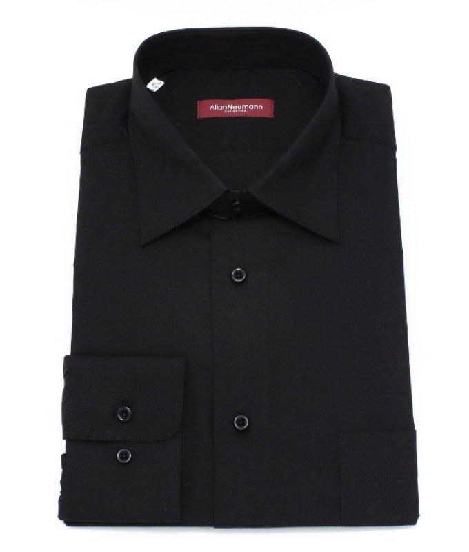 Рубашка Allan Neumann черная, однотонная, классический силуэт