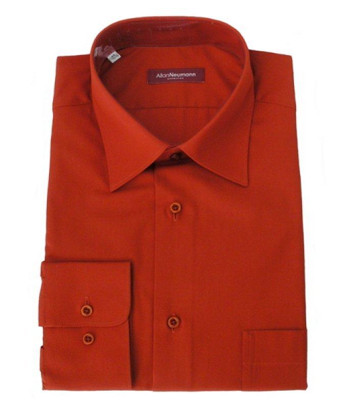 Рубашка Allan Neumann красная, однотонная, классический силуэт