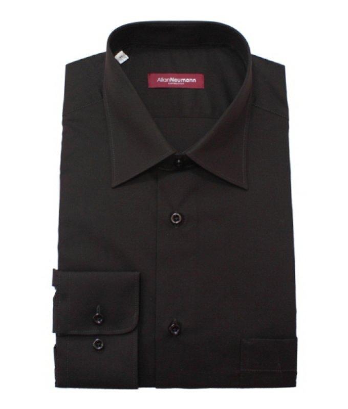 Рубашка Allan Neumann коричневая, однотонная, классический силуэт
