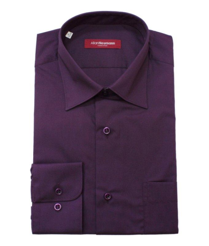 Рубашка Allan Neumann цвета баклажан, однотонная, классический силуэт