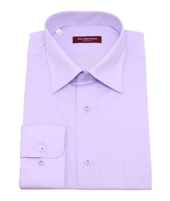 Рубашка Allan Neumann сиреневая, однотонная, классический силуэт
