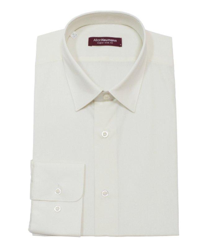 Рубашка Allan Neumann белая, однотонная, очень приталенный силуэт