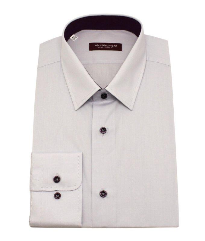 Рубашка Allan Neumann серая, однотонная, очень приталенный силуэт