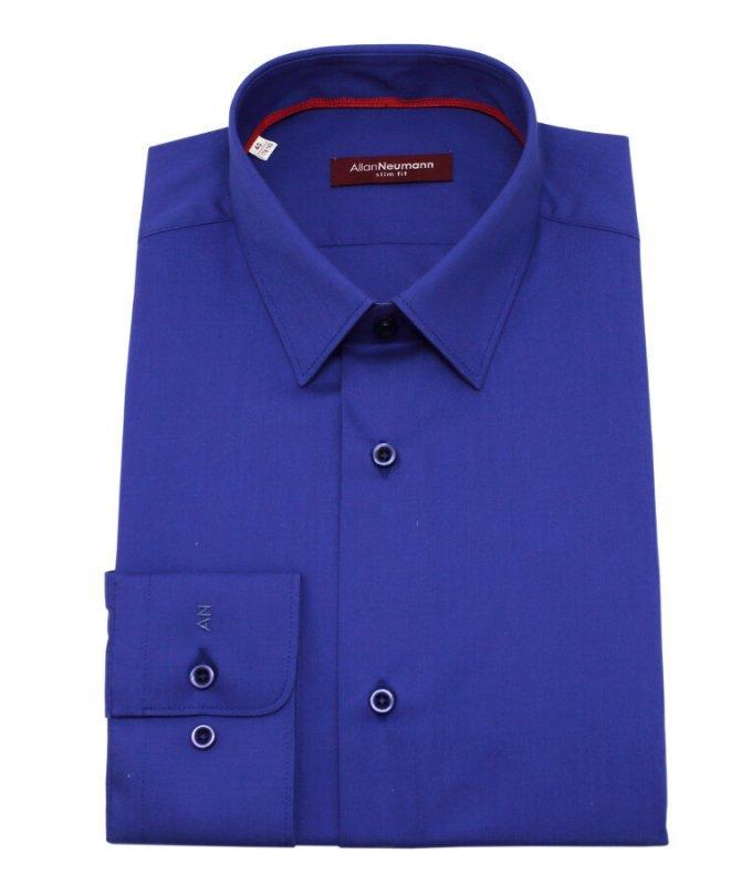 Рубашка Allan Neumann синяя, однотонная, приталенный силуэт