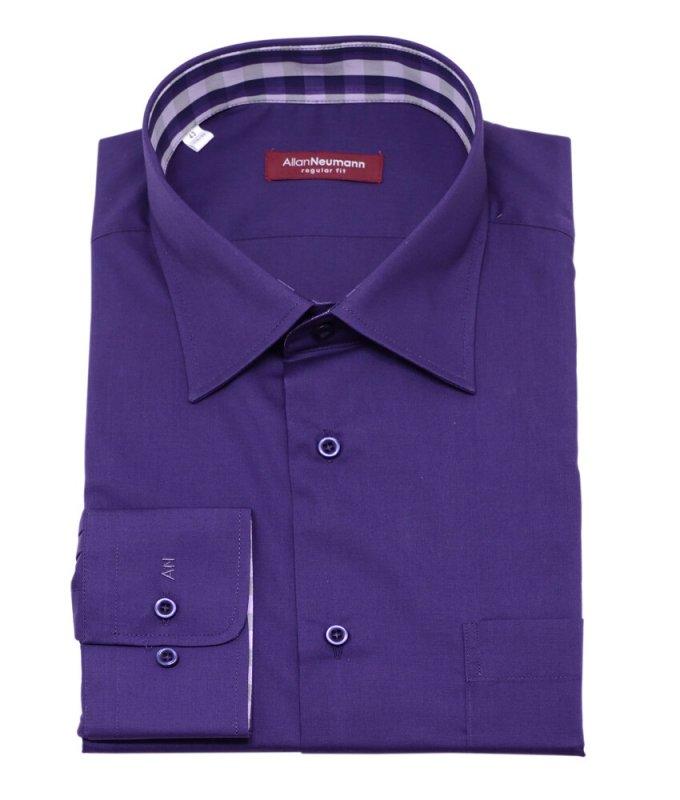 Рубашка Allan Neumann фиолетовая, однотонная, классический силуэт