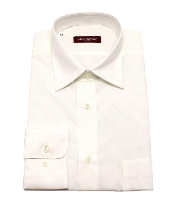 Рубашка Allan Neumann бежевая/молочная, однотонная, классический силуэт