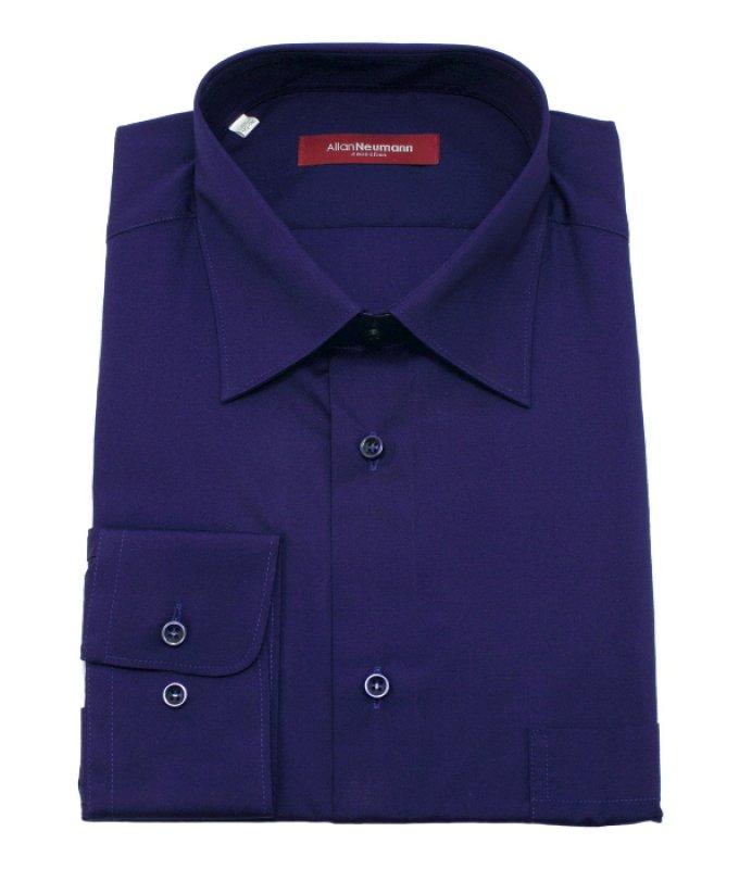 Рубашка Allan Neumann темно-синяя, однотонная, классический силуэт