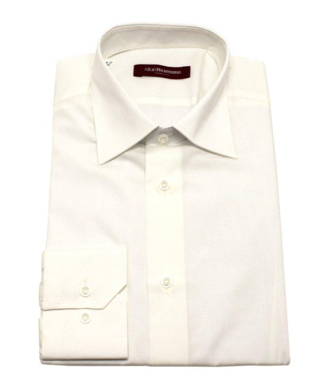 Рубашка Allan Neumann бежевая/молочная, однотонная, приталенный силуэт