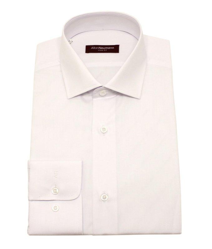 Рубашка Allan Neumann белая, однотонная, приталенный силуэт