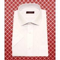 Рубашка Allan Neumann белая, однотонная, полуприталенный силуэт