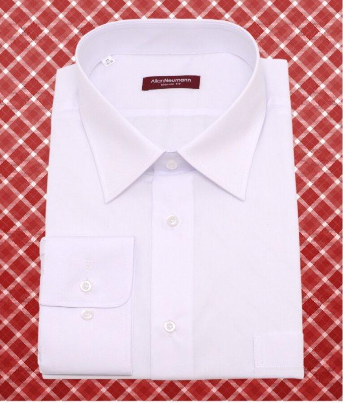 Рубашка Allan Neumann белая, однотонная, классический силуэт