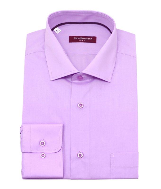 Рубашка Allan Neumann светло-фиолетовая, однотонная, приталенный силуэт