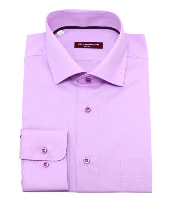 Рубашка Allan Neumann розовая, однотонная, полуприталенный силуэт