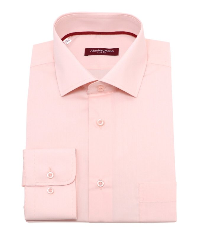Рубашка Allan Neumann розовая, однотонная, приталенный силуэт