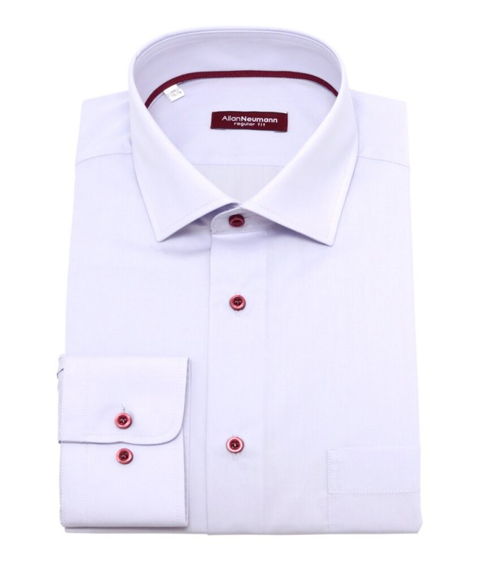 Рубашка Allan Neumann серая, однотонная, полуприталенный силуэт