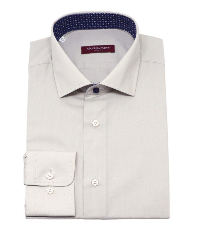 Рубашка Allan Neumann серая, однотонная, приталенный силуэт