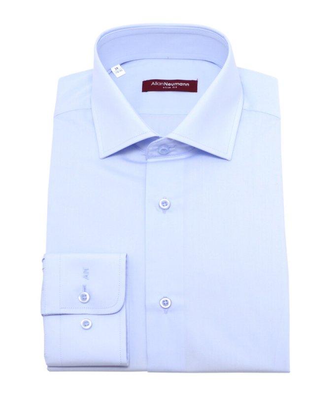 Рубашка Allan Neumann голубая, однотонная, приталенный силуэт