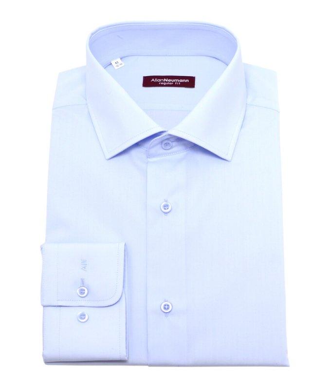 Рубашка Allan Neumann голубая, однотонная, полуприталенный силуэт