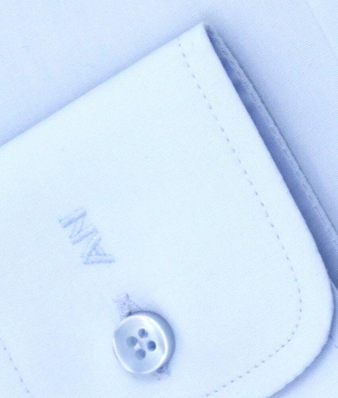 Рубашка Allan Neumann голубая, однотонная, очень приталенный силуэт