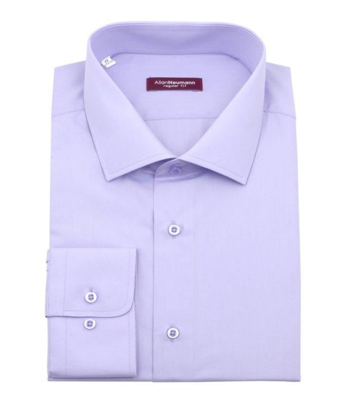 Рубашка Allan Neumann сиреневая, однотонная, полуприталенный силуэт