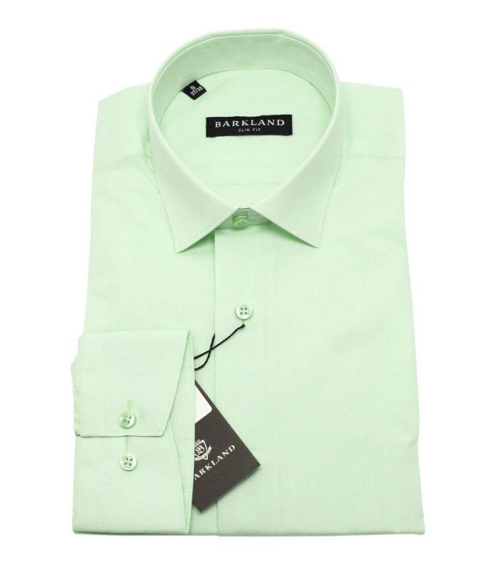 Рубашка Barkland зеленая, однотонная, приталенный силуэт