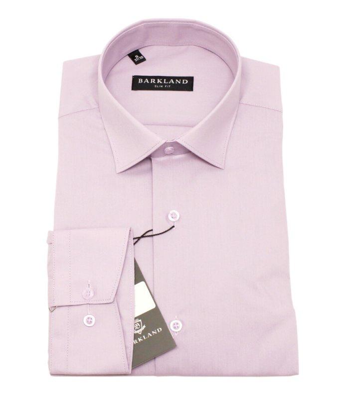 Рубашка Barkland розовая, однотонная, приталенный силуэт