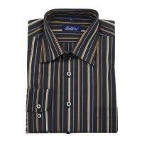 Рубашка Bellford черная, в полоску, классический силуэт