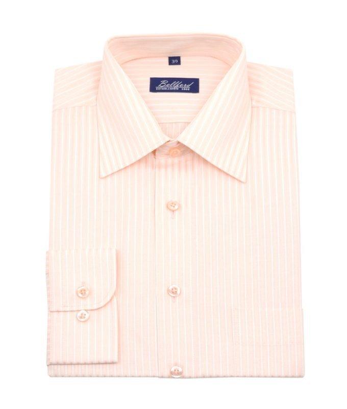 Рубашка Bellford бежевая/молочная, в полоску, классический силуэт