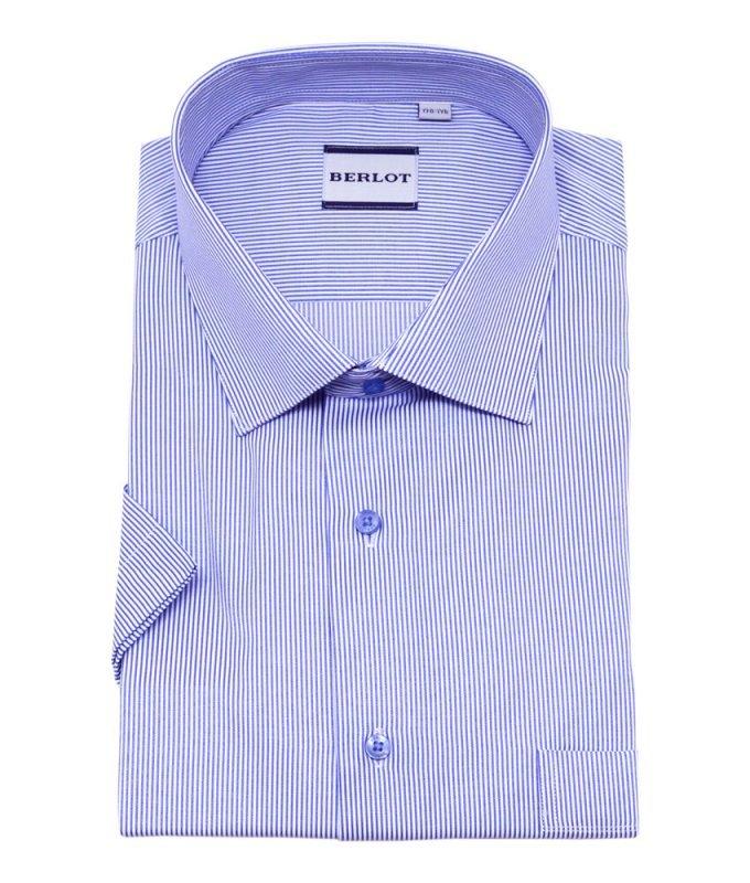 Рубашка Berlot синяя, в полоску, классический силуэт