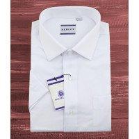 Рубашка Berlot белая, однотонная, классический силуэт, короткий рукав