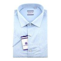 Рубашка Berlot голубая, однотонная, классический силуэт, короткий рукав