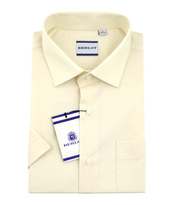 Рубашка Berlot бежевая/молочная, однотонная, классический силуэт, короткий рукав