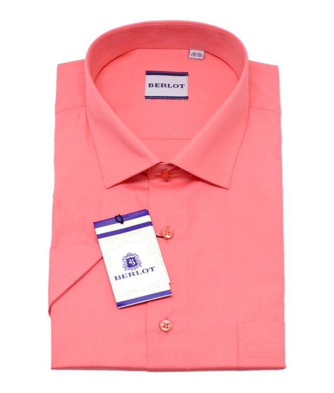 Рубашка Berlot цвета лосось, однотонная, классический силуэт