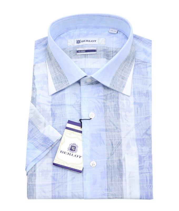 Рубашка Berlot голубая, с узором, классический силуэт